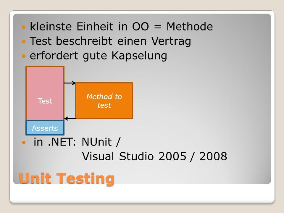 Unit Testing kleinste Einheit in OO = Methode Test beschreibt einen Vertrag erfordert gute Kapselung in.NET: NUnit / Visual Studio 2005 / 2008 Method to test Test Asserts