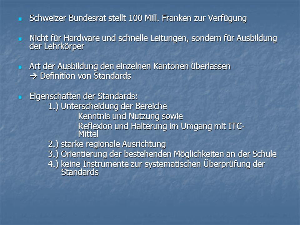 Schweizer Bundesrat stellt 100 Mill. Franken zur Verfügung Schweizer Bundesrat stellt 100 Mill. Franken zur Verfügung Nicht für Hardware und schnelle
