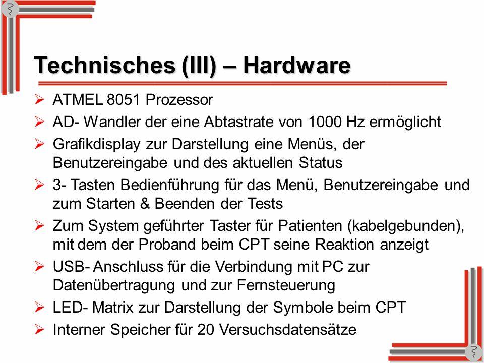 Technisches (III) – Hardware ATMEL 8051 Prozessor AD- Wandler der eine Abtastrate von 1000 Hz ermöglicht Grafikdisplay zur Darstellung eine Menüs, der