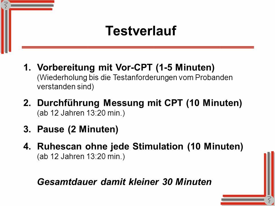 Testverlauf 1.Vorbereitung mit Vor-CPT (1-5 Minuten) (Wiederholung bis die Testanforderungen vom Probanden verstanden sind) 2.Durchführung Messung mit