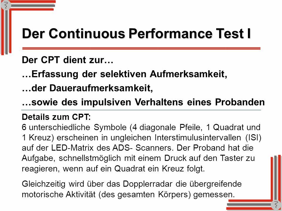 Der Continuous Performance Test I Der CPT dient zur… …Erfassung der selektiven Aufmerksamkeit, …der Daueraufmerksamkeit, …sowie des impulsiven Verhalt