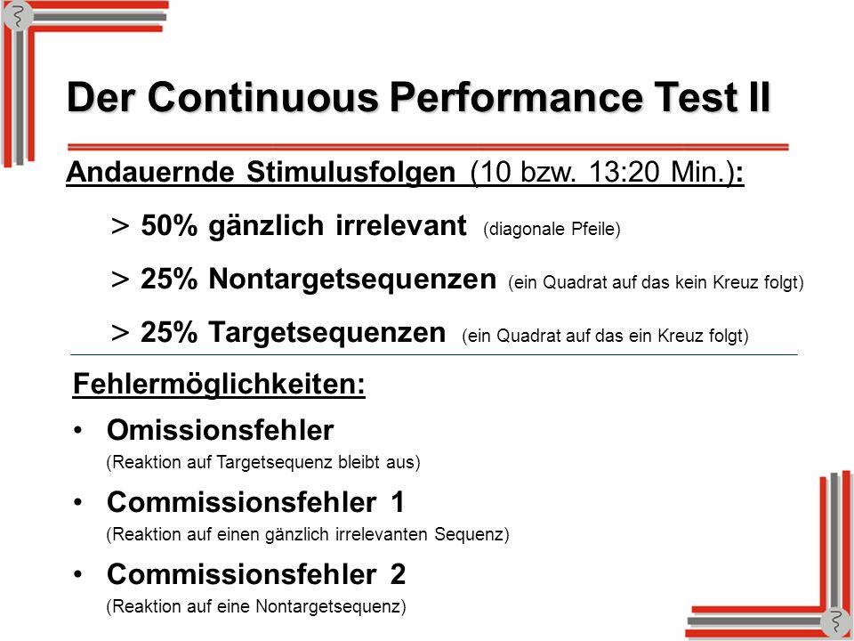 Der Continuous Performance Test II Andauernde Stimulusfolgen (10 bzw. 13:20 Min.): > 50% gänzlich irrelevant (diagonale Pfeile) > 25% Nontargetsequenz
