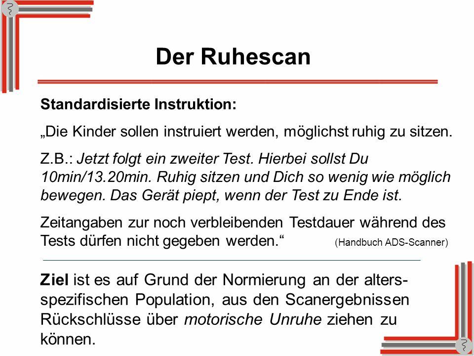 Der Ruhescan Standardisierte Instruktion: Die Kinder sollen instruiert werden, möglichst ruhig zu sitzen. Z.B.: Jetzt folgt ein zweiter Test. Hierbei
