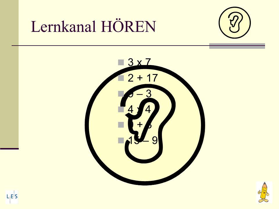 Lernkanal HÖREN 3 x 7 2 + 17 9 – 3 4 x 4 9 + 3 15 – 9