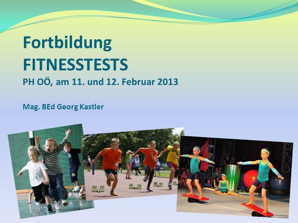 Fortbildung FITNESSTESTS PH OÖ, am 11. und 12. Februar 2013 Mag. BEd Georg Kastler