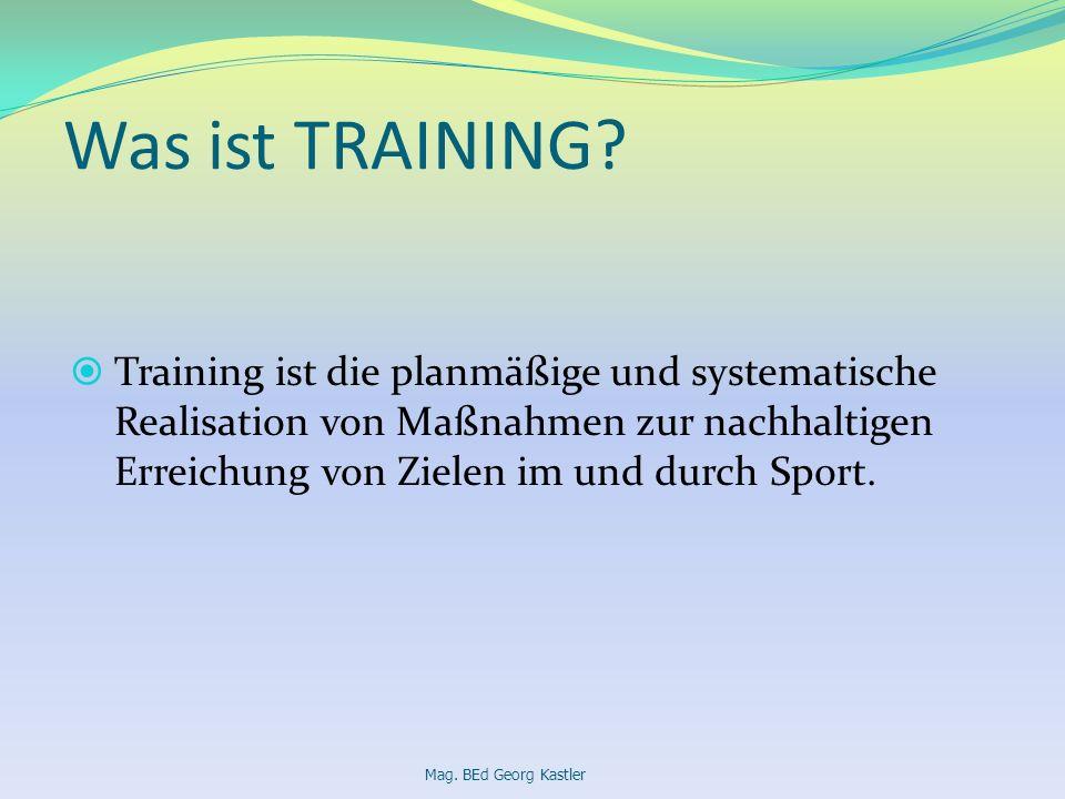 Was ist TRAINING? Training ist die planmäßige und systematische Realisation von Maßnahmen zur nachhaltigen Erreichung von Zielen im und durch Sport. M