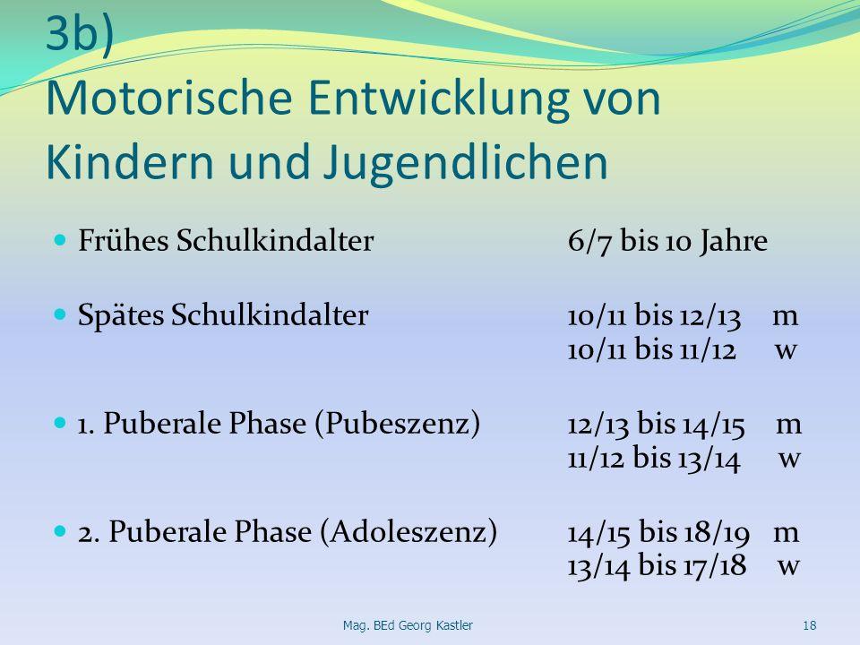 3b) Motorische Entwicklung von Kindern und Jugendlichen Frühes Schulkindalter6/7 bis 10 Jahre Spätes Schulkindalter10/11 bis 12/13 m 10/11 bis 11/12 w