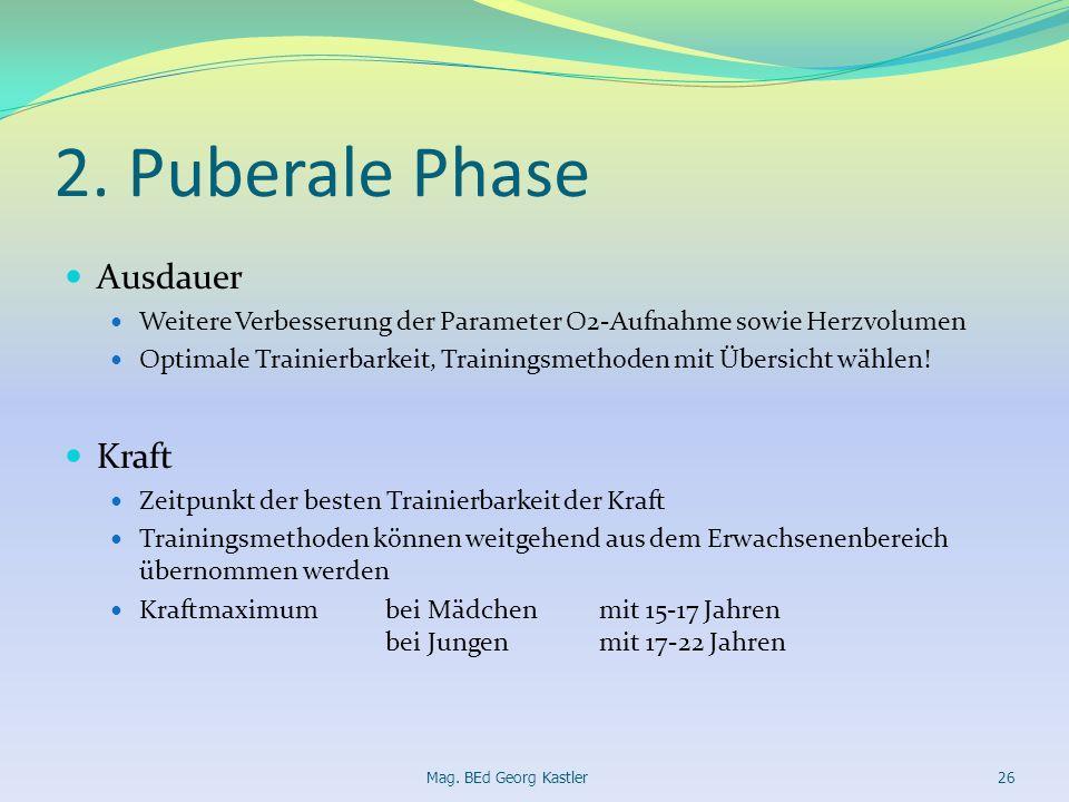 2. Puberale Phase Ausdauer Weitere Verbesserung der Parameter O2-Aufnahme sowie Herzvolumen Optimale Trainierbarkeit, Trainingsmethoden mit Übersicht