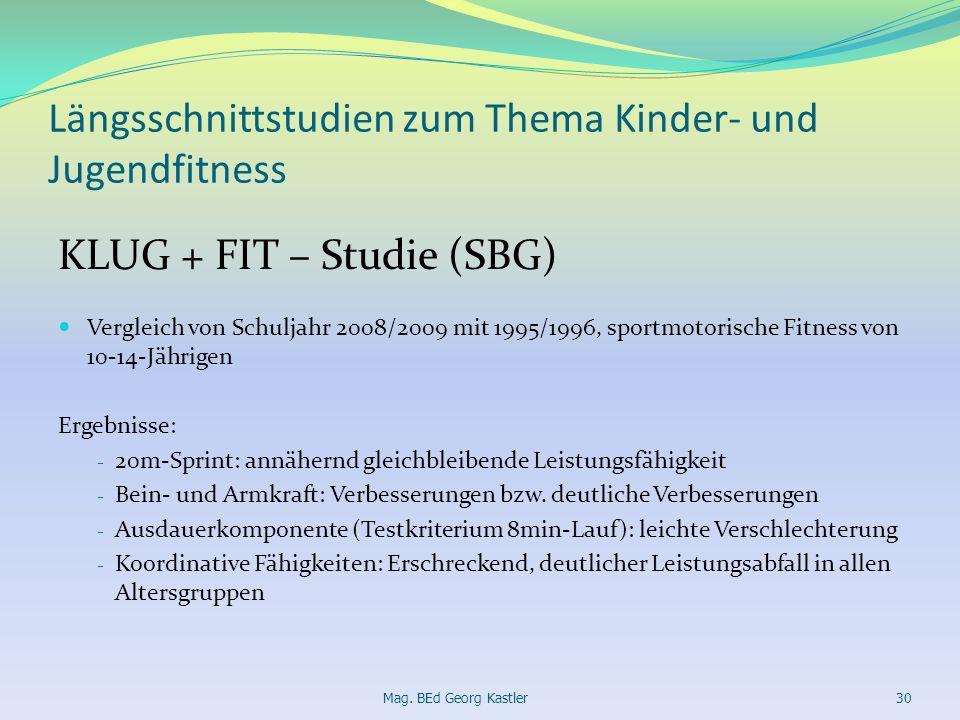 Längsschnittstudien zum Thema Kinder- und Jugendfitness KLUG + FIT – Studie (SBG) Vergleich von Schuljahr 2008/2009 mit 1995/1996, sportmotorische Fit