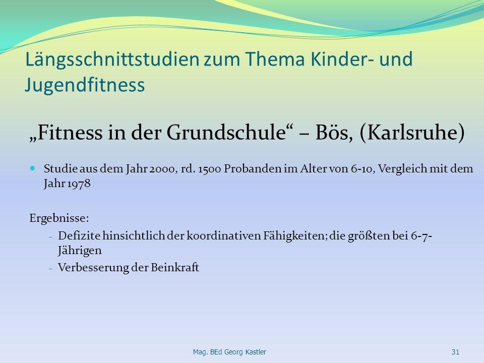 Längsschnittstudien zum Thema Kinder- und Jugendfitness Fitness in der Grundschule – Bös, (Karlsruhe) Studie aus dem Jahr 2000, rd. 1500 Probanden im