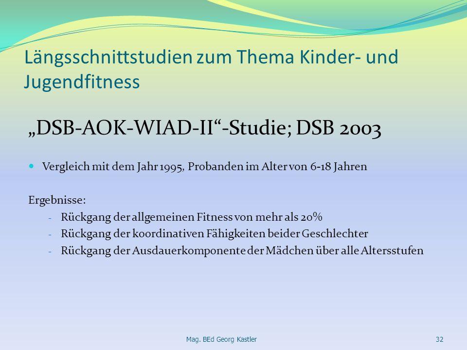 Längsschnittstudien zum Thema Kinder- und Jugendfitness DSB-AOK-WIAD-II-Studie; DSB 2003 Vergleich mit dem Jahr 1995, Probanden im Alter von 6-18 Jahr