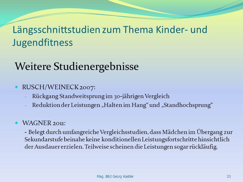 Längsschnittstudien zum Thema Kinder- und Jugendfitness Weitere Studienergebnisse RUSCH/WEINECK 2007: - Rückgang Standweitsprung im 30-jährigen Vergle
