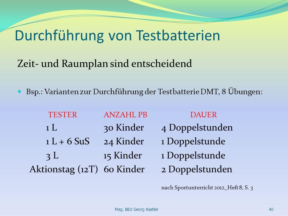 Durchführung von Testbatterien Zeit- und Raumplan sind entscheidend Bsp.: Varianten zur Durchführung der Testbatterie DMT, 8 Übungen: TESTERANZAHL PBD