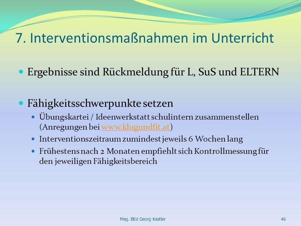 7. Interventionsmaßnahmen im Unterricht Ergebnisse sind Rückmeldung für L, SuS und ELTERN Fähigkeitsschwerpunkte setzen Übungskartei / Ideenwerkstatt