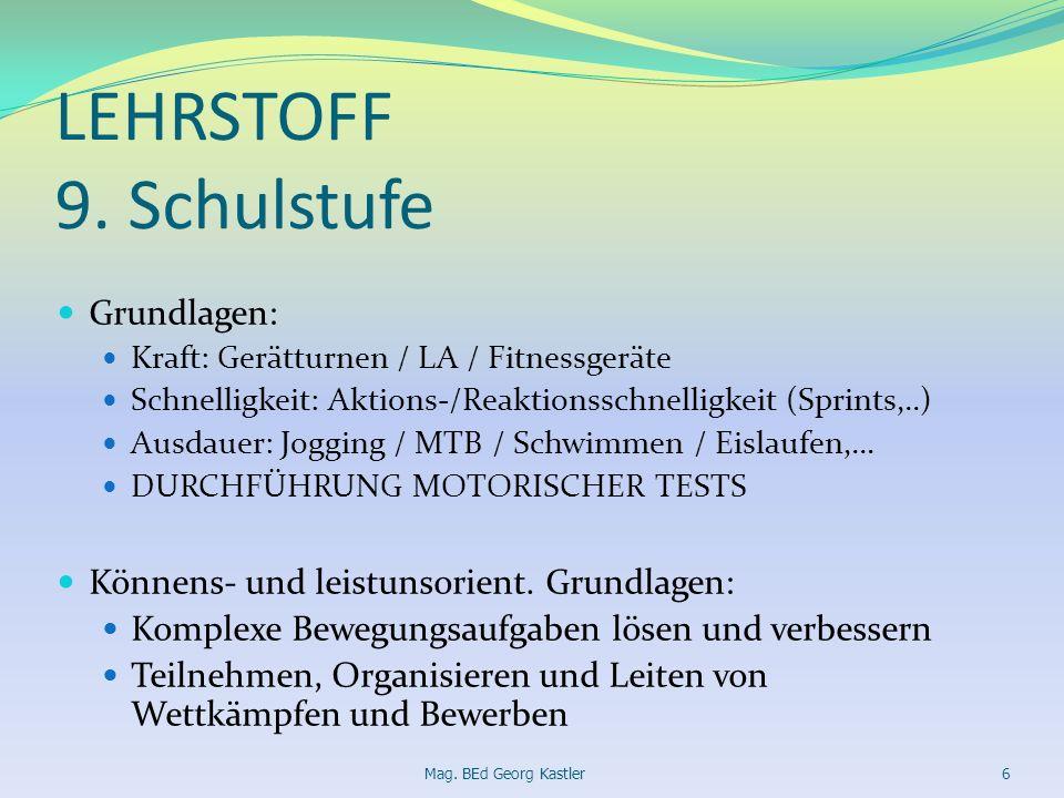 LEHRSTOFF 9. Schulstufe Grundlagen: Kraft: Gerätturnen / LA / Fitnessgeräte Schnelligkeit: Aktions-/Reaktionsschnelligkeit (Sprints,..) Ausdauer: Jogg