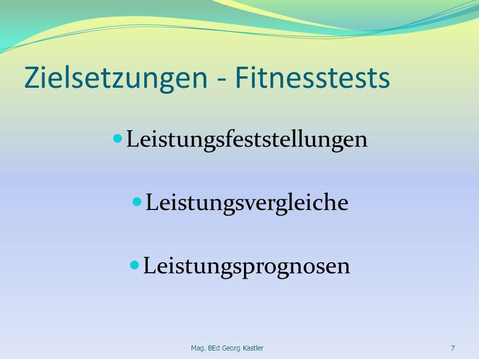 Zielsetzungen - Fitnesstests Leistungsfeststellungen Leistungsvergleiche Leistungsprognosen Mag. BEd Georg Kastler7