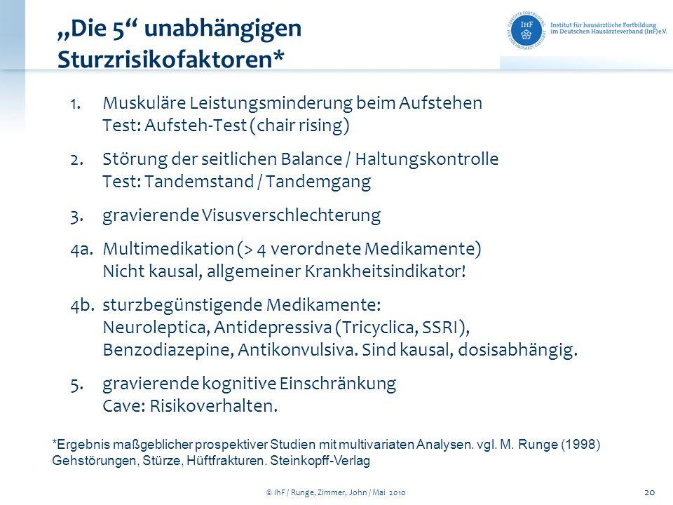 © IhF / Runge, Zimmer, John / Mai 2010 20 Die 5 unabhängigen Sturzrisikofaktoren* 1.Muskuläre Leistungsminderung beim Aufstehen Test: Aufsteh-Test (ch