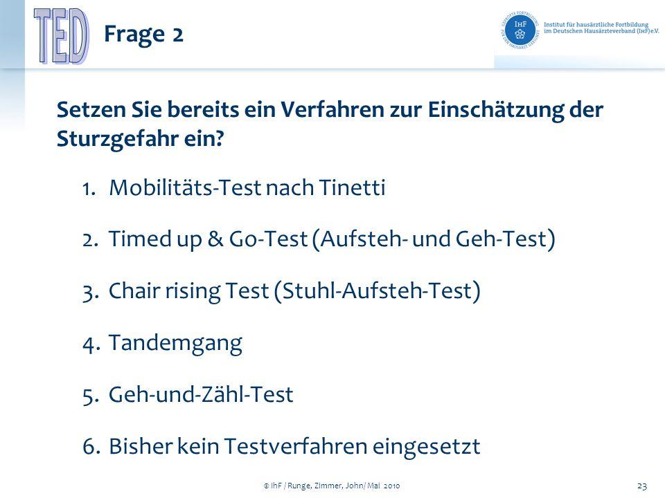© IhF / Runge, Zimmer, John/ Mai 2010 23 Frage 2 Setzen Sie bereits ein Verfahren zur Einschätzung der Sturzgefahr ein? 1.Mobilitäts-Test nach Tinetti