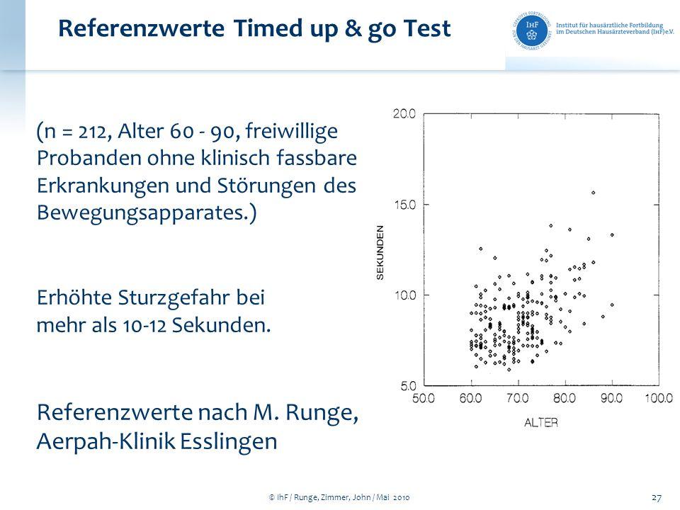 © IhF / Runge, Zimmer, John / Mai 2010 27 Referenzwerte Timed up & go Test (n = 212, Alter 60 - 90, freiwillige Probanden ohne klinisch fassbare Erkra