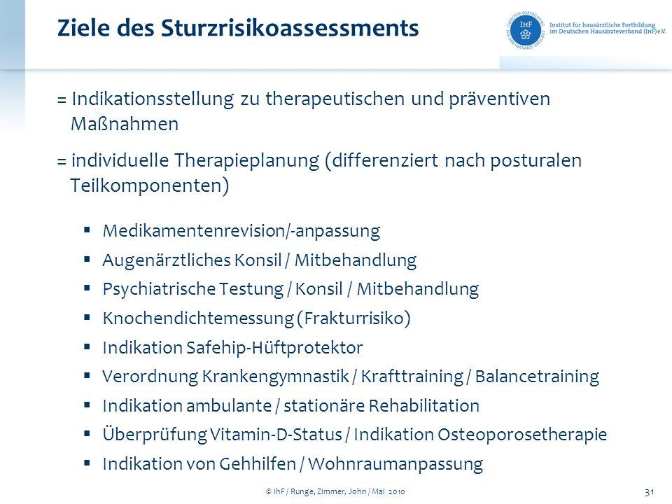 © IhF / Runge, Zimmer, John / Mai 2010 31 Ziele des Sturzrisikoassessments = Indikationsstellung zu therapeutischen und präventiven Maßnahmen = indivi