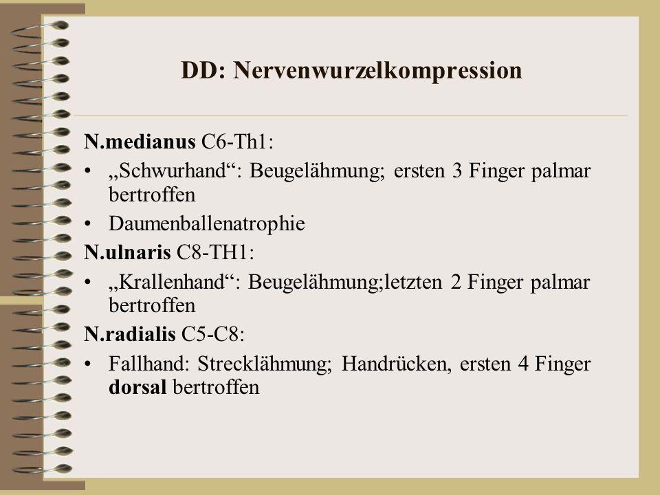 DD: Nervenwurzelkompression N.medianus C6-Th1: Schwurhand: Beugelähmung; ersten 3 Finger palmar bertroffen Daumenballenatrophie N.ulnaris C8-TH1: Kral