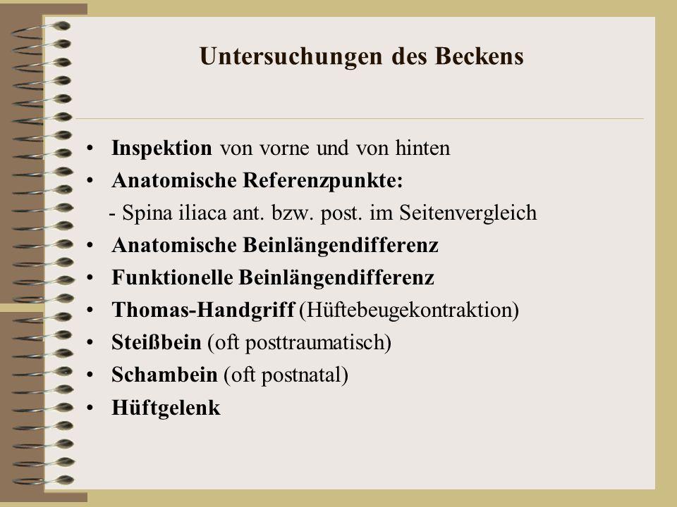 Untersuchungen des Beckens Inspektion von vorne und von hinten Anatomische Referenzpunkte: - Spina iliaca ant. bzw. post. im Seitenvergleich Anatomisc