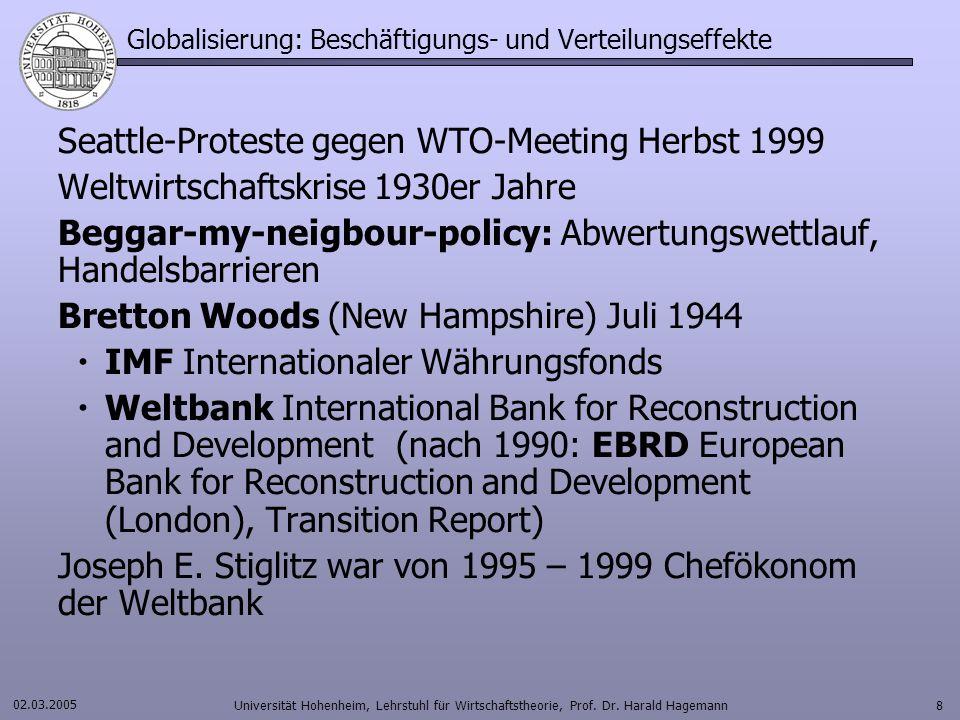 02.03.2005 Universität Hohenheim, Lehrstuhl für Wirtschaftstheorie, Prof.