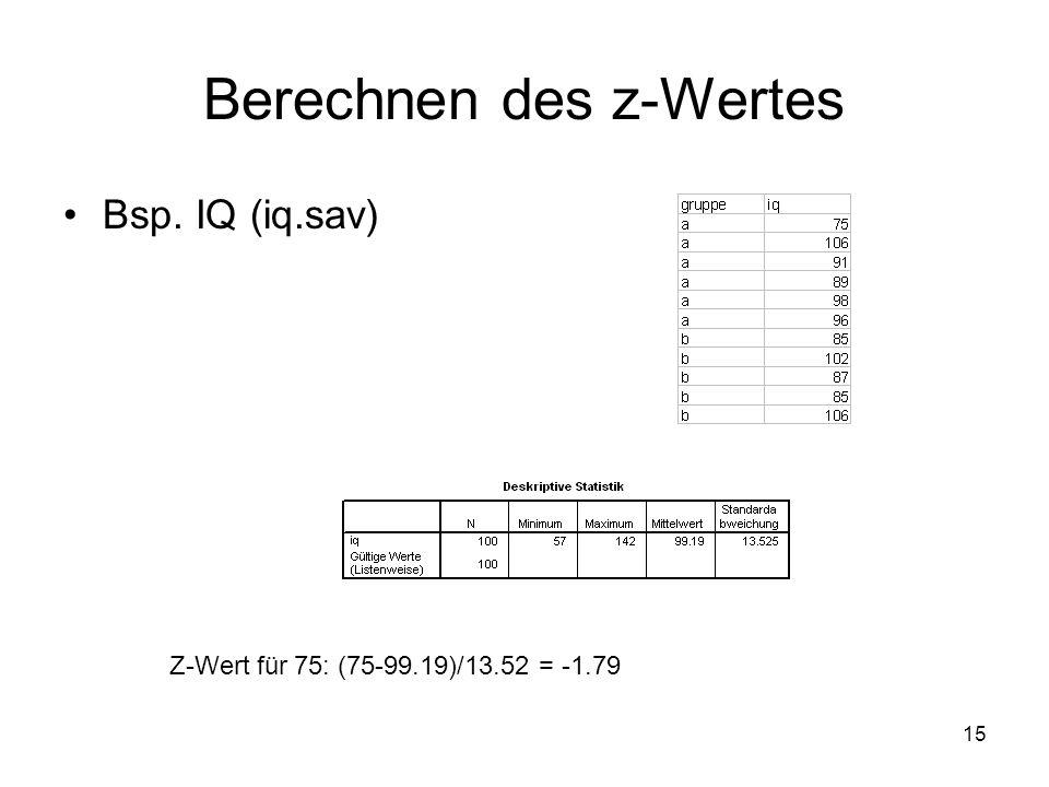 15 Berechnen des z-Wertes Bsp. IQ (iq.sav) Z-Wert für 75: (75-99.19)/13.52 = -1.79