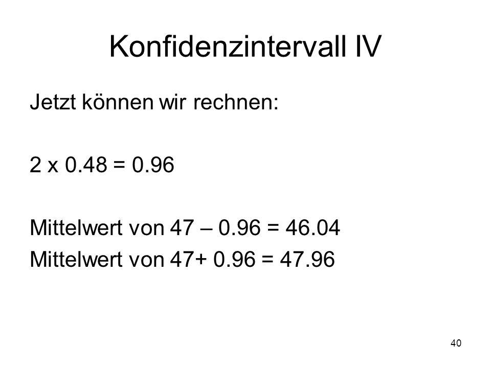 40 Konfidenzintervall IV Jetzt können wir rechnen: 2 x 0.48 = 0.96 Mittelwert von 47 – 0.96 = 46.04 Mittelwert von 47+ 0.96 = 47.96
