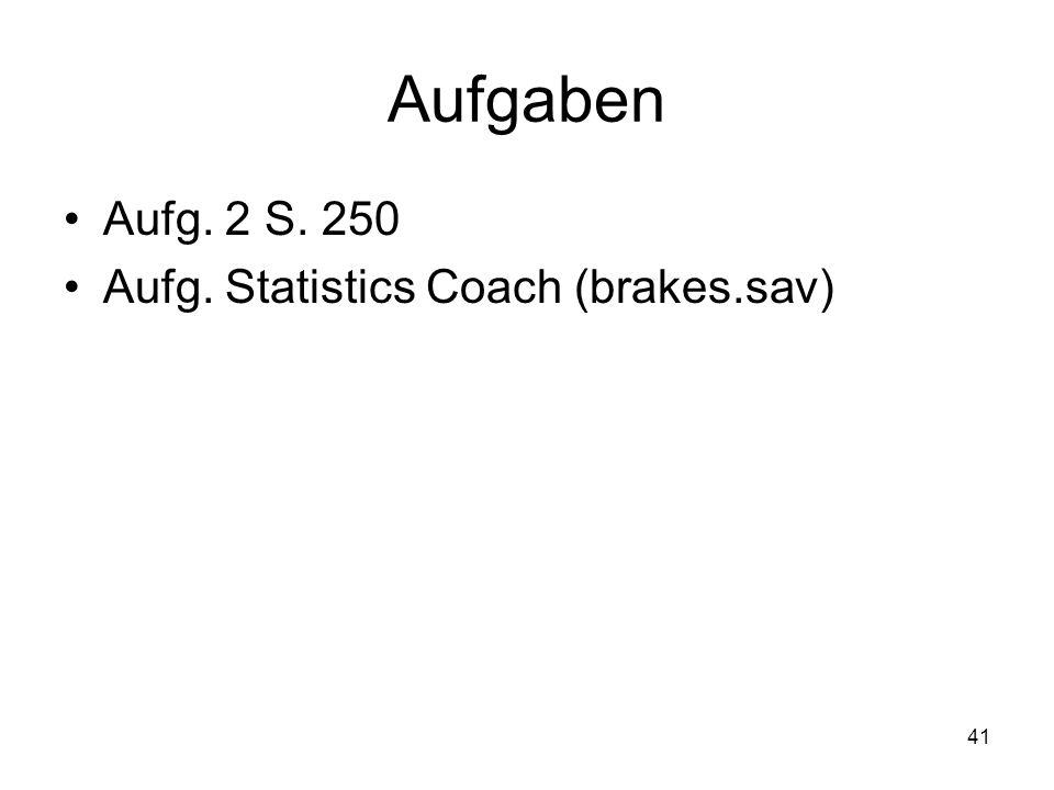 41 Aufgaben Aufg. 2 S. 250 Aufg. Statistics Coach (brakes.sav)