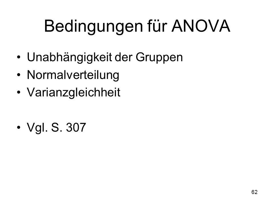 62 Bedingungen für ANOVA Unabhängigkeit der Gruppen Normalverteilung Varianzgleichheit Vgl. S. 307