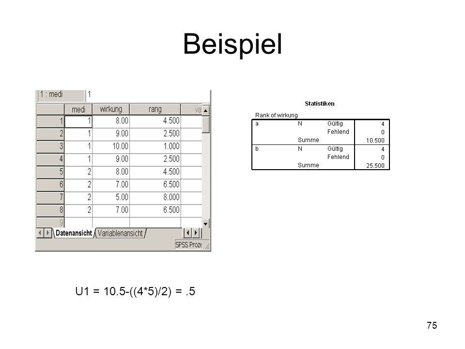 75 Beispiel U1 = 10.5-((4*5)/2) =.5