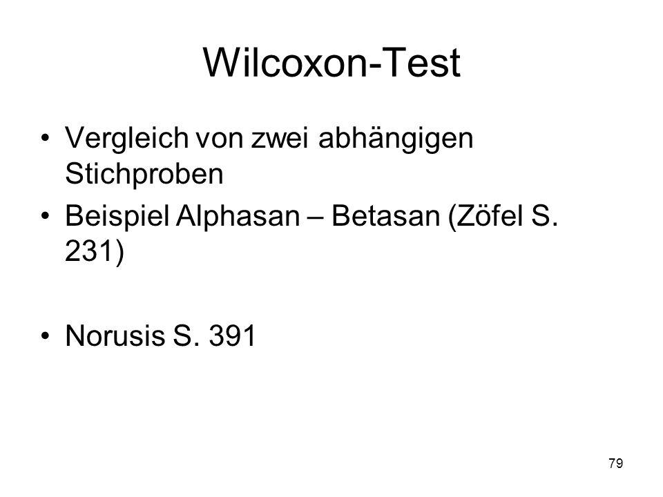 79 Wilcoxon-Test Vergleich von zwei abhängigen Stichproben Beispiel Alphasan – Betasan (Zöfel S. 231) Norusis S. 391