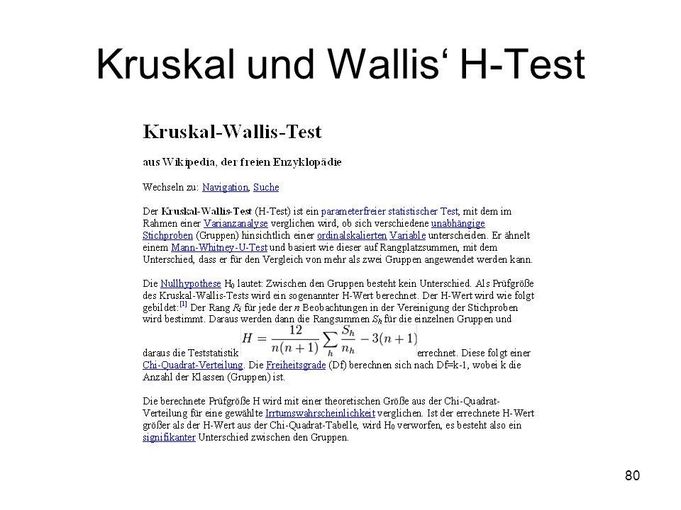 80 Kruskal und Wallis H-Test