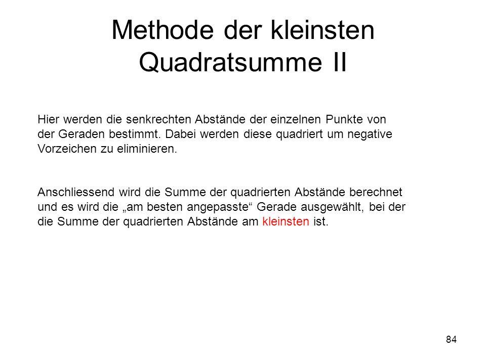 84 Methode der kleinsten Quadratsumme II Hier werden die senkrechten Abstände der einzelnen Punkte von der Geraden bestimmt. Dabei werden diese quadri