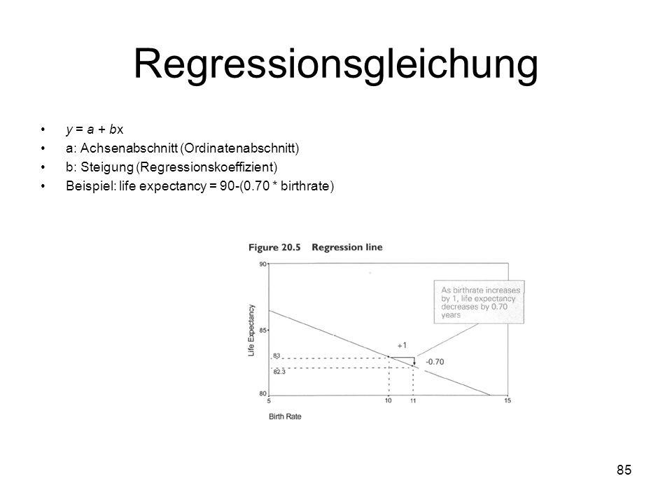 85 Regressionsgleichung y = a + bx a: Achsenabschnitt (Ordinatenabschnitt) b: Steigung (Regressionskoeffizient) Beispiel: life expectancy = 90-(0.70 *