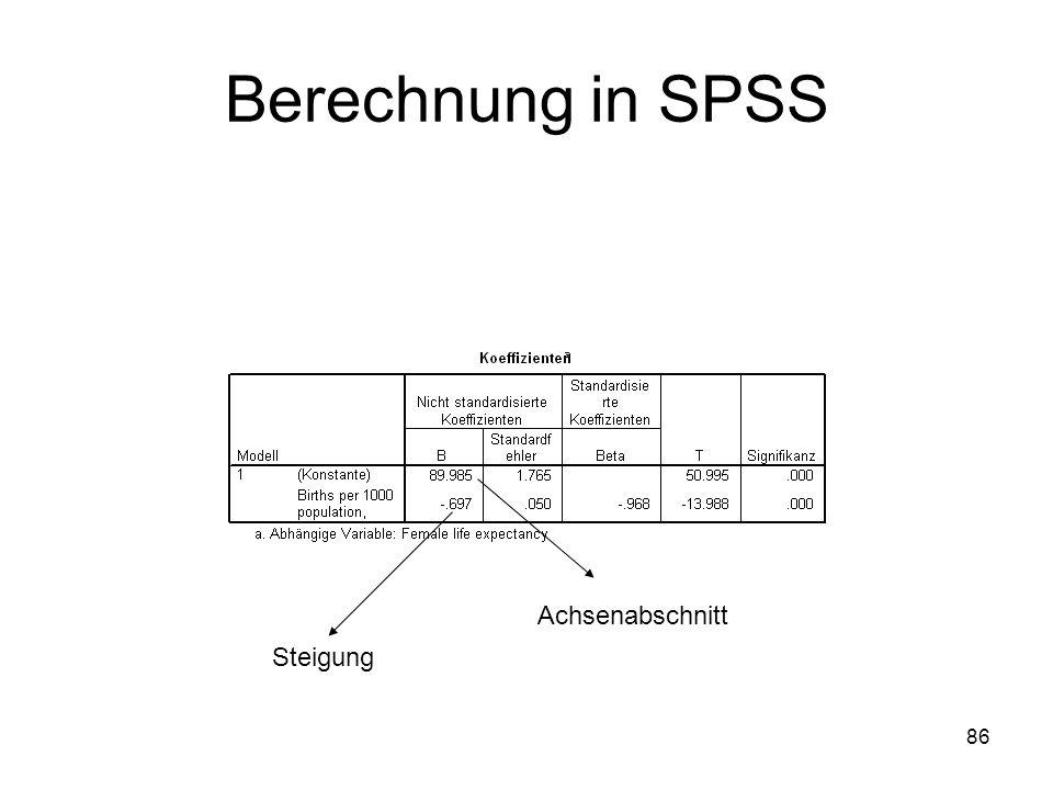 86 Berechnung in SPSS Achsenabschnitt Steigung