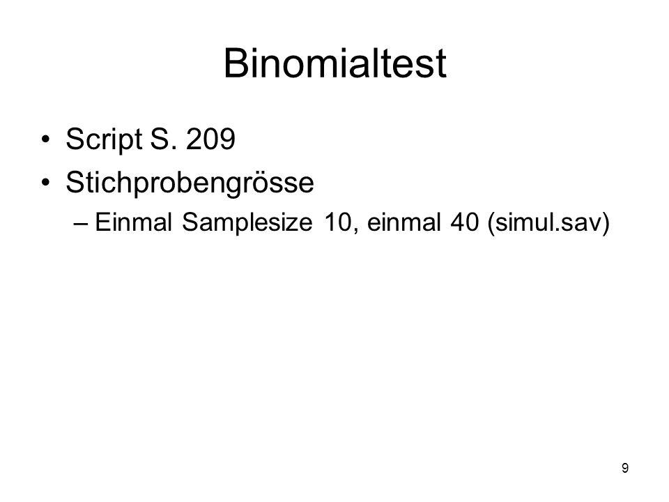 9 Binomialtest Script S. 209 Stichprobengrösse –Einmal Samplesize 10, einmal 40 (simul.sav)