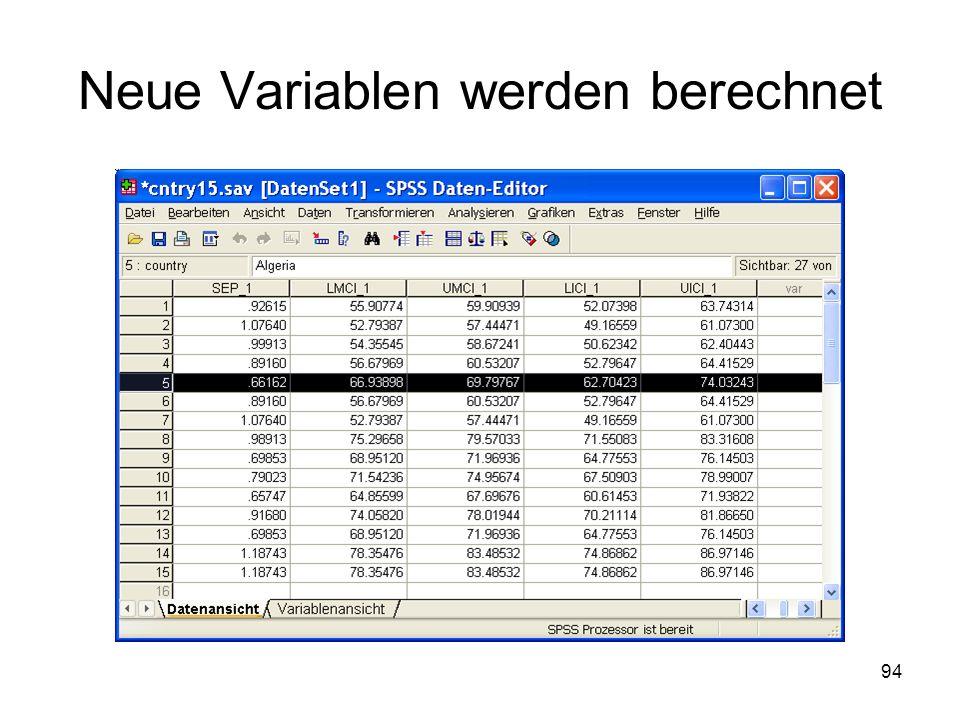 94 Neue Variablen werden berechnet