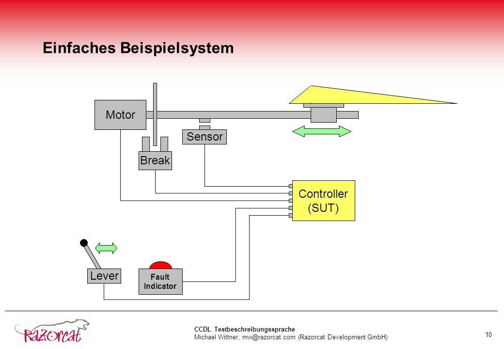 CCDL Testbeschreibungssprache Michael Wittner, mw@razorcat.com (Razorcat Development GmbH) 10 Einfaches Beispielsystem Lever Motor Sensor Fault Indicator Controller (SUT) Break