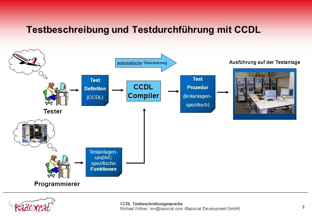 CCDL Testbeschreibungssprache Michael Wittner, mw@razorcat.com (Razorcat Development GmbH) 9 Einsatz der CCDL in Airbus-Zertifizierungs-Testprogrammen nTest der Landeklappensteuerung (High-Lift-System) in Bremen lA400M lA320 SFCC Re-Design lA350 (aktuell laufende Testkampagne) nPerformance-Steigerung im Testprozess mit CCDL gegenüber Programmierung der Testprozeduren in Python über 100%