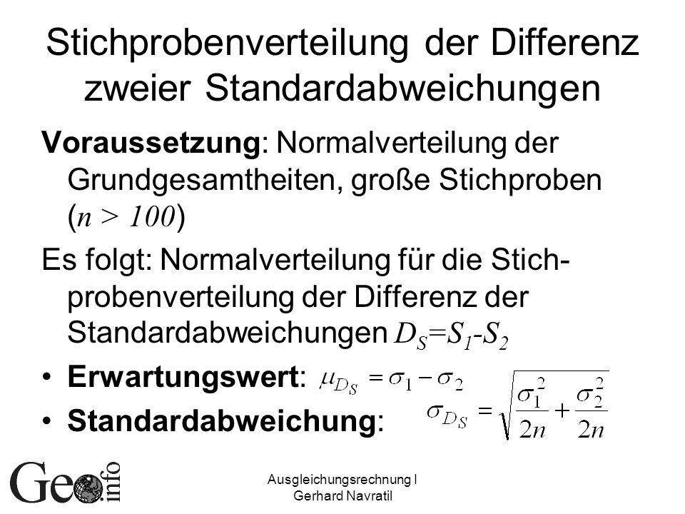 Ausgleichungsrechnung I Gerhard Navratil Stichprobenverteilung der Differenz zweier Standardabweichungen Voraussetzung: Normalverteilung der Grundgesa