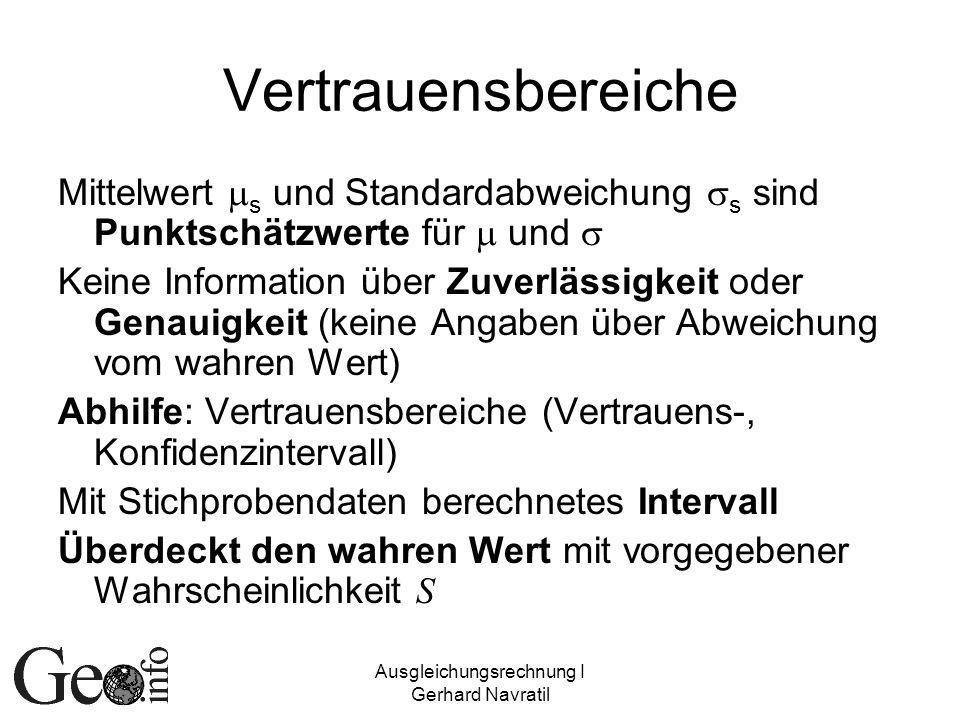 Ausgleichungsrechnung I Gerhard Navratil Vertrauensbereiche Mittelwert s und Standardabweichung s sind Punktschätzwerte für und Keine Information über
