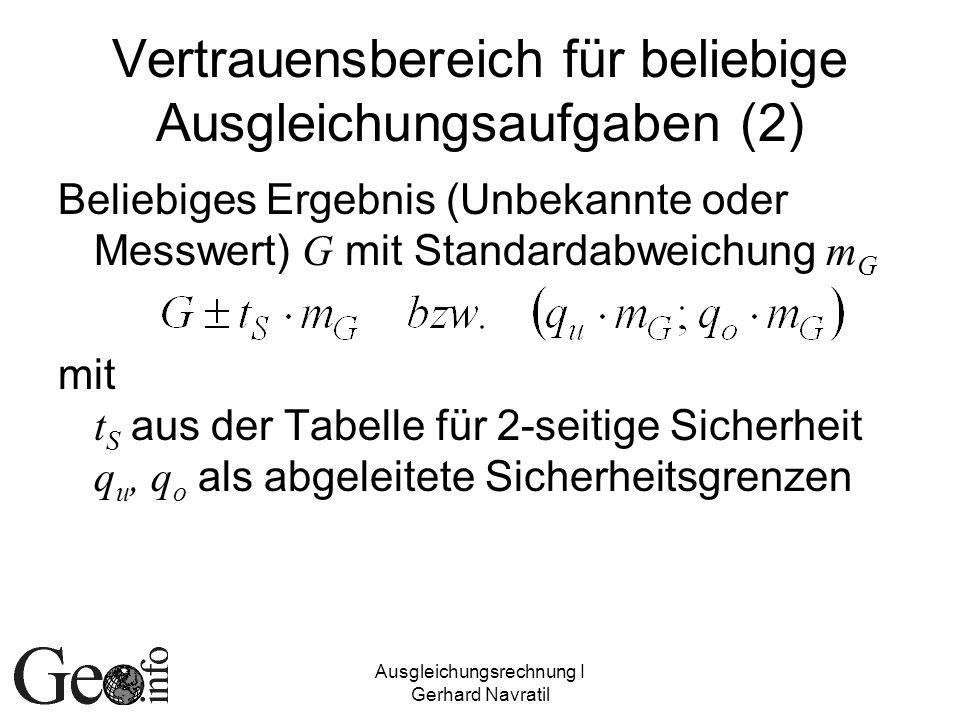 Ausgleichungsrechnung I Gerhard Navratil Vertrauensbereich für beliebige Ausgleichungsaufgaben (2) Beliebiges Ergebnis (Unbekannte oder Messwert) G mi