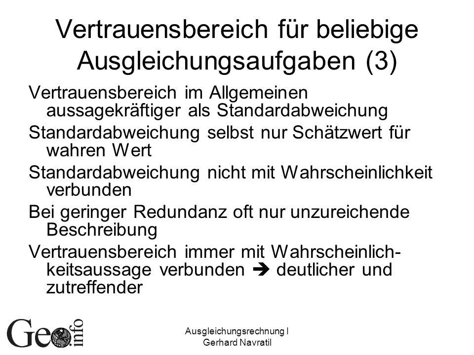 Ausgleichungsrechnung I Gerhard Navratil Vertrauensbereich für beliebige Ausgleichungsaufgaben (3) Vertrauensbereich im Allgemeinen aussagekräftiger a