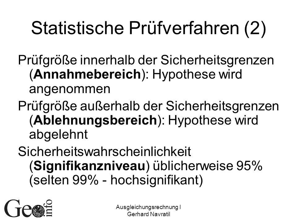 Ausgleichungsrechnung I Gerhard Navratil Statistische Prüfverfahren (2) Prüfgröße innerhalb der Sicherheitsgrenzen (Annahmebereich): Hypothese wird an