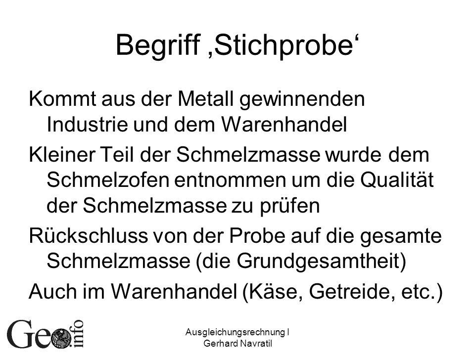 Ausgleichungsrechnung I Gerhard Navratil Begriff Stichprobe Kommt aus der Metall gewinnenden Industrie und dem Warenhandel Kleiner Teil der Schmelzmas