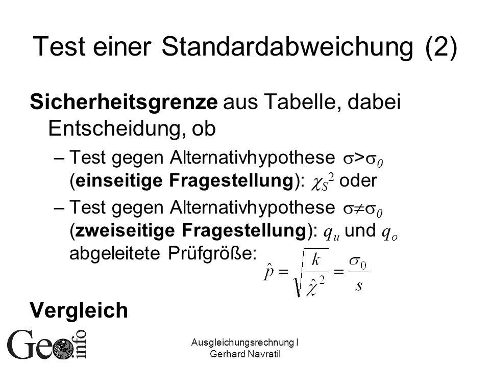 Ausgleichungsrechnung I Gerhard Navratil Test einer Standardabweichung (2) Sicherheitsgrenze aus Tabelle, dabei Entscheidung, ob –Test gegen Alternati