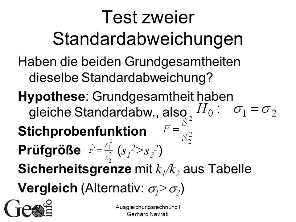 Ausgleichungsrechnung I Gerhard Navratil Test zweier Standardabweichungen Haben die beiden Grundgesamtheiten dieselbe Standardabweichung? Hypothese: G