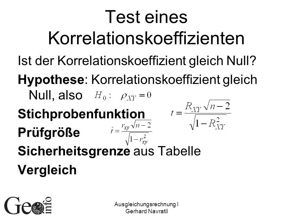 Ausgleichungsrechnung I Gerhard Navratil Test eines Korrelationskoeffizienten Ist der Korrelationskoeffizient gleich Null? Hypothese: Korrelationskoef
